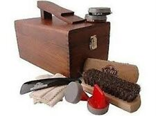Kiwi Select Shoe Shine Care Kit Valet II Wooden Box w/ 10pc Content