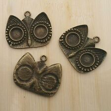 2pcs antiqued bronze owl pendant cabochon setting G415