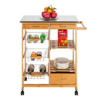 Rolling Wood Kitchen Island Trolley Cart Stainle Top Storage Cabinet Utility New