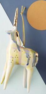 NEW Anthropologie Christmas Ornament Gail CC ceramic UNICORN