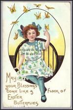 HBG Griggs Easter Girl w Butterflies L&E 2271 Postcard