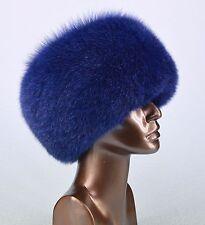 Genuine Real Fancy Saga Furs Blue Fox Cossack Winter Hat