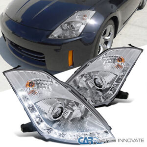 """For 06-09 Nissan 350Z Z33 Fairlady Clear LED """"HID Type"""" Projector Headlights"""