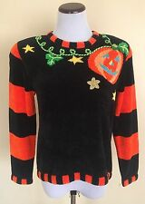 Berek Black & Orange Halloween Jack-o-lantern Pumpkin Novelty Sweater Size Small
