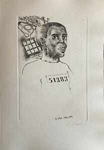 BRUNO CARUSO incisione l'Alba diventa un'ora 50x35 firmata numerata anno 1970