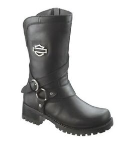 HARLEY-DAVIDSON FOOTWEAR Women's Amber Black Leather Motorcycle Boots D85514
