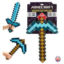 NUOVO Minecraft 2 in 1 trasformando Spada di diamante e piccone Bambini Regalo UK Venditore