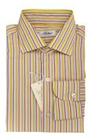 319$ BELVEST by Finamore Napoli Dress Shirt Cotton Striped 15 1/2 - 39 Reg