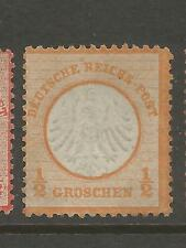 Germany 1872 1/2gr Orange yellow Small Shield sc 3a CV$1100 Mint No Gum