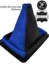Negro y Azul Manual de Cuero de grano superior engranaje Polaina encaja Kia Sorento MK1 02-09