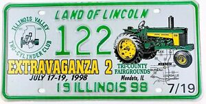 John Deere Tractor License Plate Art Vtg 1998 Special Event Illinois Man Cave