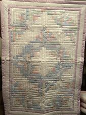 """Lavender Multi-Colored Pastel Handmade Patchwork Log Cabin Baby Quilt 38""""x52"""""""