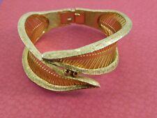 Vintage Wrap Leaves Bangle Clamper Bracelet Textured Gold Tone