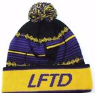 Lifted Research Group LRG Knit Pom Pom Winter Hat Beanie Toque  Purple/Yellow