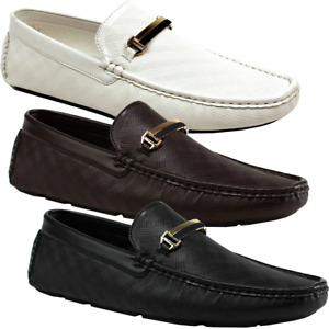 Textured Slip On Moccasins Buckle Loafers Boat Driving Shoes Mens Size