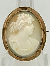 Fine Antique 14k Gold  & Carved Shell Cameo Brooch Pin Combo.