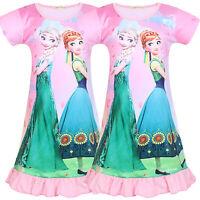 Girl's Summer Nightwear Nightdress Frozen Elsa Anna Short Sleeve Pyjamas Dress