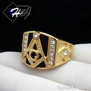 MEN's Stainless Steel Gold Black Onyx MASONIC CZ Ring Size 8-13*GR94