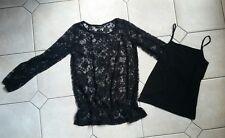*NEU*er GINA Damen Spitzen Pullover doppellagig Gr. 36 schwarz