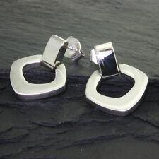 Neu Edelstahl Stecker Kreolen Ohrringe Damen Ohrhänger eckig glanz matt Karoform
