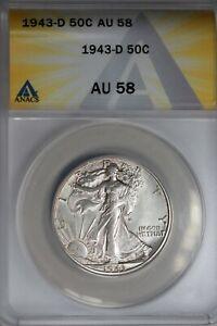 1943-D  .50   ANACS  AU 58  Walking Liberty, Half Dollar, Lady Liberty Half