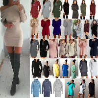 Women Jumper Sweater Bodycon Hooded Slim Fit Tops Pullover Warm Mini Short Dress