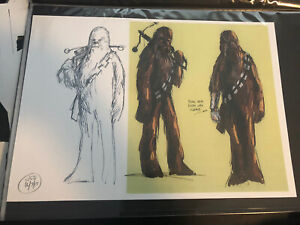 Star Wars Force Awakens Production Used Concept Art Print Lucasfilm Chewbacca