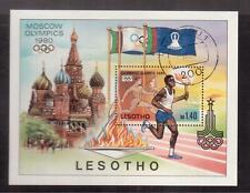 LESOTHO 1980 USED SOUVENIR SHEET # 296, MOSCOW OLYMPICS !!