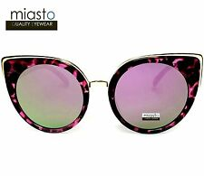 "NWT$39.99 MIASTO RETRO ""NEW YORK"" BIG CAT EYE MIRROR SUNGLASSES-OVERSIZED PURPLE"
