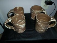 Studio Art Pottery  Coffee Mug Set Of 4 Brown and White Swirl Clay Signed