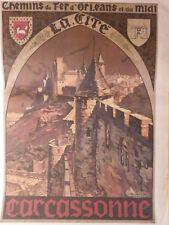 affiche C.paul CHAMPSEIX CARCASSONNE chemin de fer ORLEAN et du midi