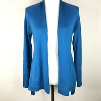 Eileen Fisher Open Front Cardigan Sweater Size XS Blue Merino Wool Lightweight