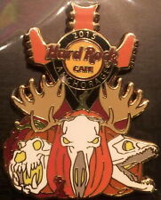 Hard Rock Cafe ANCHORAGE 2015 HALLOWEEN PIN on CARD Moose Jack-o-Lanterns Guitar