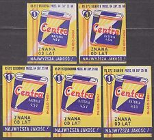 POLAND 1963 Matchbox Label - Cat.Z#421 set CENTRA 4.5V battery, known for years.