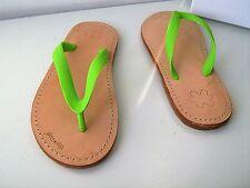 flip flop lea suola gli originali verde fluo 37 thongs sandali Infradito apple