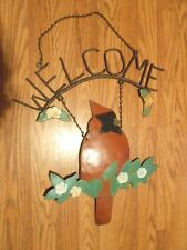 Vintage Welcome Sign Cardinal Bird Hand Made Welded Metal Rustic Country Decor