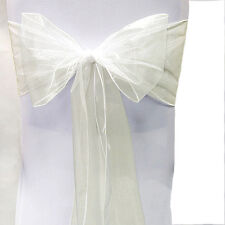 1-100pcs Organza Chair Seat Cover Sashes Fuller Bow Wedding Anniversary Party
