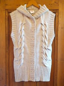 DKNY Lambswool Chunky Cable Knit Hooded Gillet Sleeveless Cardigan Vest M 12 14