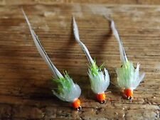 3X GREEN & WHITE JELLY FRITZ OSPREY FLY FISHING TROUT FLIES SIZE 10 FULLING MILL