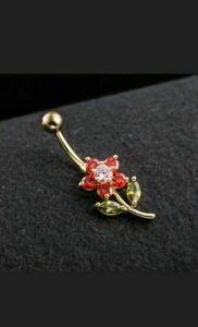 14k Yellow Gold Over Red Ruby Diamond Piercing Flowers Navel Ring Belly Button