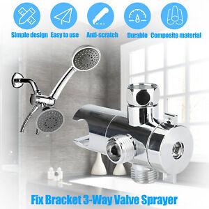 ABS Bracket 3-Way Valve Sprayer Arm Mount Shower Head Adapter Diverter Bathroom