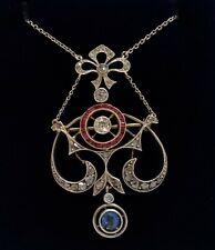Antique Art Nouveau Diamond, Ruby & Sapphire Necklace Gold & Plat - Length 20in