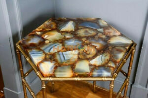 """18"""" Wild Agate Stone Center Coffee Table Top Handicrafted Garden Decorative A088"""
