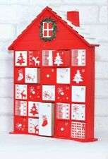 RED & WHITE Wooden House Advent Calendar Christmas Decoration Ornament XMAS
