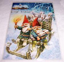 Postkarte Nisser Zwerge bei Nächtlicher Schlittenfahrt mit Geschenken unterwegs