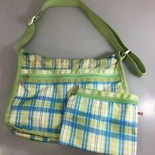 LeSportsac Green Blue Plaid Crossbody Shoulder Bag Handbag + Pouch Made in USA