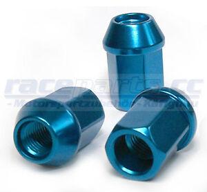 4 Stück Alu-Radmuttern, M12 x 1.5 mm,  blau eloxiert, Kegelbund, raceparts.cc