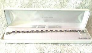 NIB Sterling Silver Genuine Amethyst Ross Simons Tennis Bracelet 7 Inches