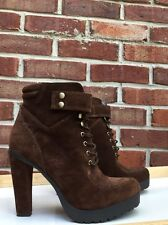 ROSEGOLD Brown Suede Womens Designer Shoes Ankle Boots Chunky 7.5 37.5 Tie *