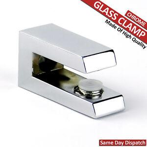 2 ADJUSTABLE SHELF SUPPORT GLASS CLAMP BRACKET RACK CHROME MIRROR RACK 4 To 10mm